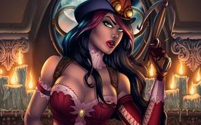 Picture chest, girl, hat, art, glasses, hunter, crossbow, helsing