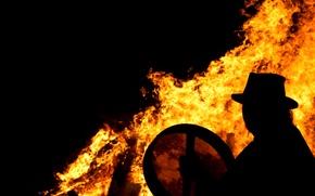 Wallpaper flame, shaman, silhouette, the fire, fire