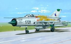 Picture war, art, painting, jet, avaition, Mikoyan-Gurevich MiG-21
