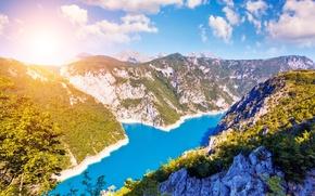 Picture the sky, the sun, clouds, lake, rocks, treatment, Montenegro, Lake Piva