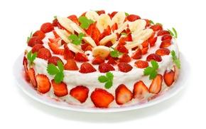 Picture strawberry, cream, glaze, Cake, banana slices