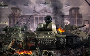 Picture fire, victory, smoke, figure, art, aircraft, ruins, tanks, The is-2, Berlin, World of Tanks, M4 …
