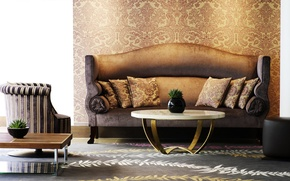 Picture design, style, room, sofa, carpet, furniture, interior, chair, pillow, table