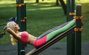 Picture girl, sports, Playground, press, exercise