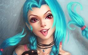 Picture language, lol, League of Legends, blue hair, jinx