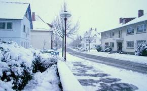 Picture winter, snow, the city, street, winter, snowy street