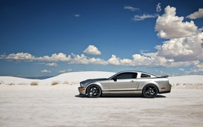 Picture the sky, clouds, mountains, Mustang, Ford, Shelby, GT500, shadow, dunes, drives, desert, side