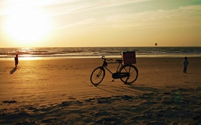 Picture sand, sea, beach, the sky, the sun, sunset, bike, children, the ocean, India, Goa