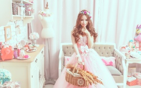 Picture style, room, Girl, dress, Asian