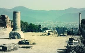 Picture trees, mountains, stones, column, Italy, Pompeii, pompei