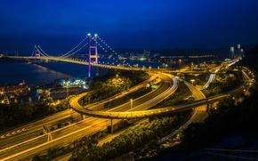 Picture the sky, night, bridge, lights, Hong Kong, Hong Kong