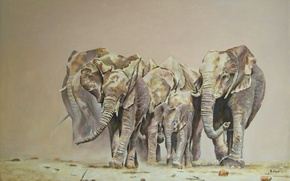 Picture animals, painting, elephants
