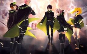 Picture hiiragi shino the, the sky, art, yuuichirou hyakuya, guys, anime, Owari no Seraph, handle types ...