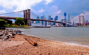 Picture the sky, landscape, bridge, home, USA, Brooklyn, New York