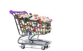 Picture cart, shopping, health, medicine, drugs, pills, hypochondria