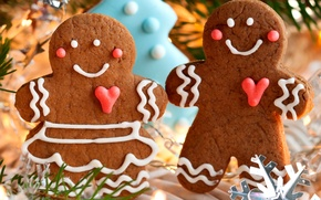 Picture Christmas, sweets, New year, holiday, cakes, winter, cookies, figures, New Year, Christmas, food, men, Christmas, ...