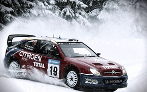 Picture Winter, Auto, Snow, Sport, Machine, Skid, Citroen, WRC, Rally, Rally, Side view, In Motion, Xsara