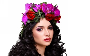 Picture look, girl, flowers, face, hair, brunette, wreath