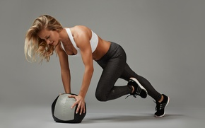 Picture woman, ball, female, workout, fitness, training