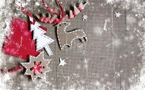 Picture paper, tree, deer, cardboard, vintage, figures, vintage, snowflake, ribbons, DIY
