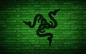 Picture Green, Black, Logo, Razer, Wallpaper