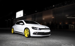 Picture volkswagen, white, wheels, tuning, germany, Scirocco