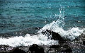 Picture ocean, water, rocks, sun, wave, glance, spray