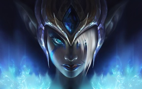 Picture look, the game, art, helmet, Morgana, League of Legends