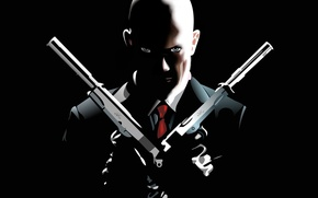 Wallpaper gun, black, vector, Hitman