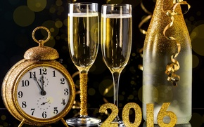 Wallpaper watch, bottle, New Year, glasses, golden, champagne, New Year, Happy, champagne, 2016