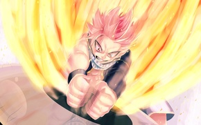 Wallpaper anger, fire, magic, anime, scarf, art, guy, fairy tail, tale of fairy tail, natsu dragneel, ...