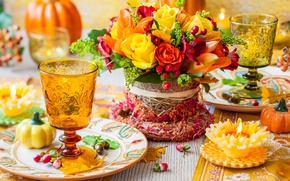 Picture autumn, flowers, roses, candle, bouquet, decoration, flowers, autumn, table, berries, bouquet, roses, table, decoration, candle, …