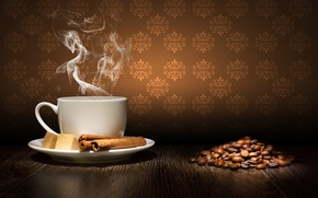 Picture table, coffee, grain, couples, Cup, sugar, cinnamon, saucer