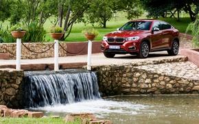 Picture greens, trees, bridge, Park, BMW, waterfall, BMW, Sport, xDrive, F16, 2015, ZA-spec