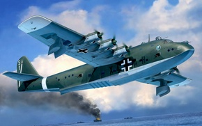 Picture war, art, airplane, painting, aviation, ww2, Blohm & Voss BV 222