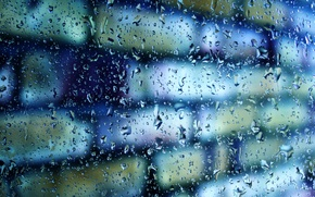 Picture glass, drops, macro, wall, blur, bricks