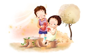 Wallpaper flowers, childhood, tree, the wind, foliage, figure, positive, boy, the tea party, girl, clearing