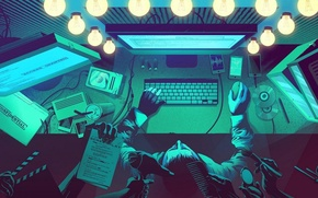 Picture lights, desktop, computer, anonymous, hacker, dressing room