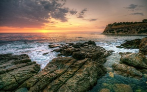 Picture sea, the sky, clouds, landscape, sunset, nature, waves, rocks