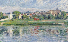 Picture landscape, the city, river, home, picture, Henri Lebacq, Lagny, the Banks of the Marne