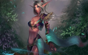 Picture girl, bow, tattoo, art, World of Warcraft, ears, Hunter, Night Elf, wow, Cheng Guang