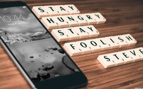 Picture black, mobile, Stay Hungry, Stay Foolish