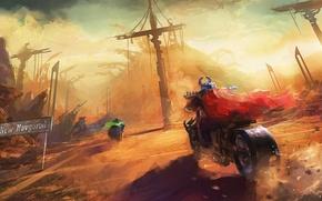 Picture future, cloak, art, russia, motorbike, vikings, postapocalypse, new novgorod