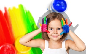 Picture joy, smile, paint, child, hands, girl, girls, Smile, little, color, Little, Hands