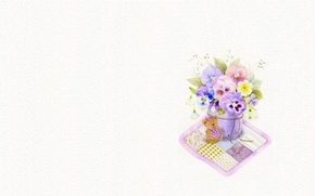 Picture flowers, toy, art, bear, Pansy, a bunch, viola, children's