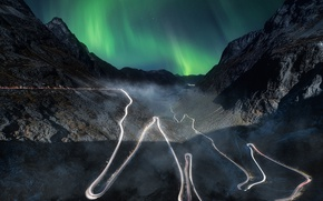 Picture road, the sky, mountains, night, Northern lights, valley