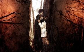 Picture forest, love, love, weave, eternity, feeling