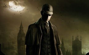 Picture birds, clouds, the moon, London, Big Ben, cloak, Sherlock Holmes, London, Big Ben, NeoGAF, The ...