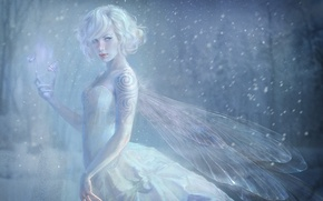 Picture girl, snow, butterfly, pattern, wings, fairy, tattoo, claws, Blizzard
