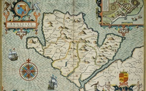 Picture sea, island, map, plan, coat of arms, WINDROSE, Anglesey
